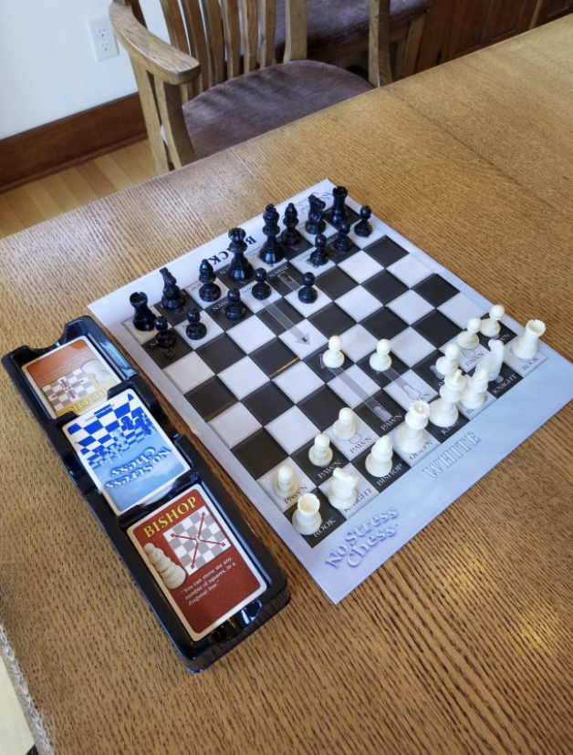 Reviewer photo of chess board and instructional cards on table