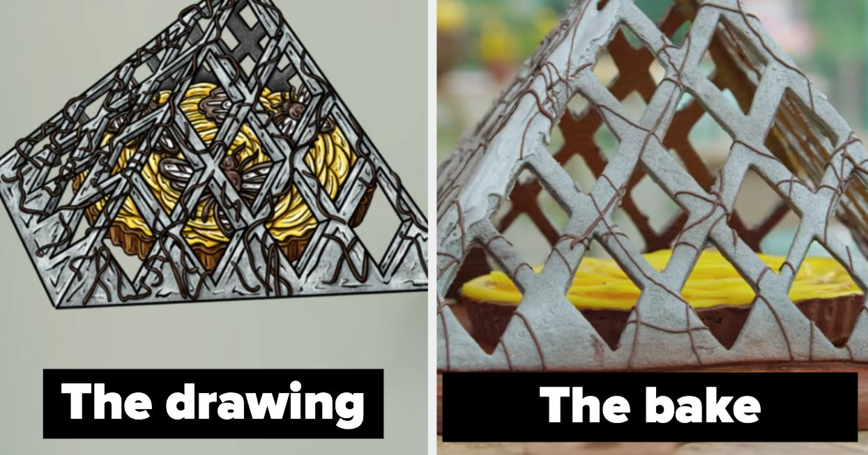 """16 Side-By-Sides Of The """"Great British Bake Off"""" Bakes Vs. Their Drawings"""