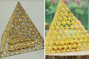 Lottie's caged tart side by side with its drawing