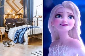 A bedroom and princess elsa