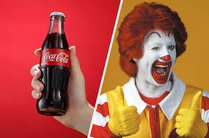 Ronald McDonald giving a Coke two thumbs up