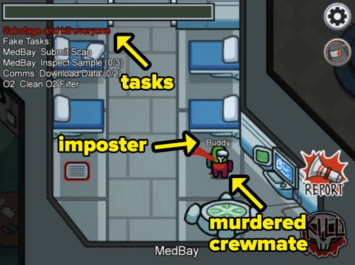 A list of fake tasks while ''the imposter'' lurks around