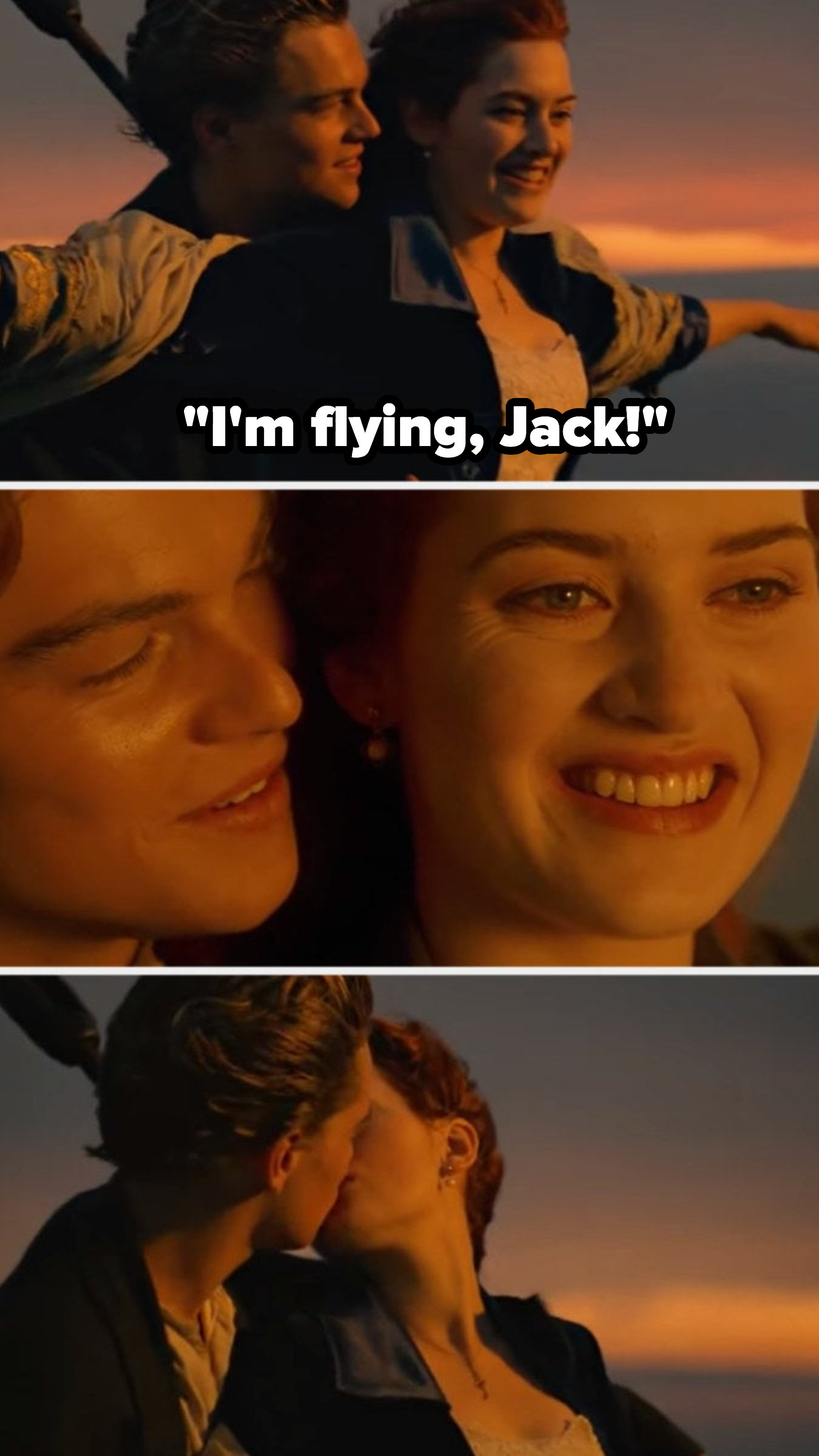 """Jack holding Rose at the front of the boat as she exclaims, """"I'm flying, Jack!"""" He then leans over her shoulder and they kiss"""