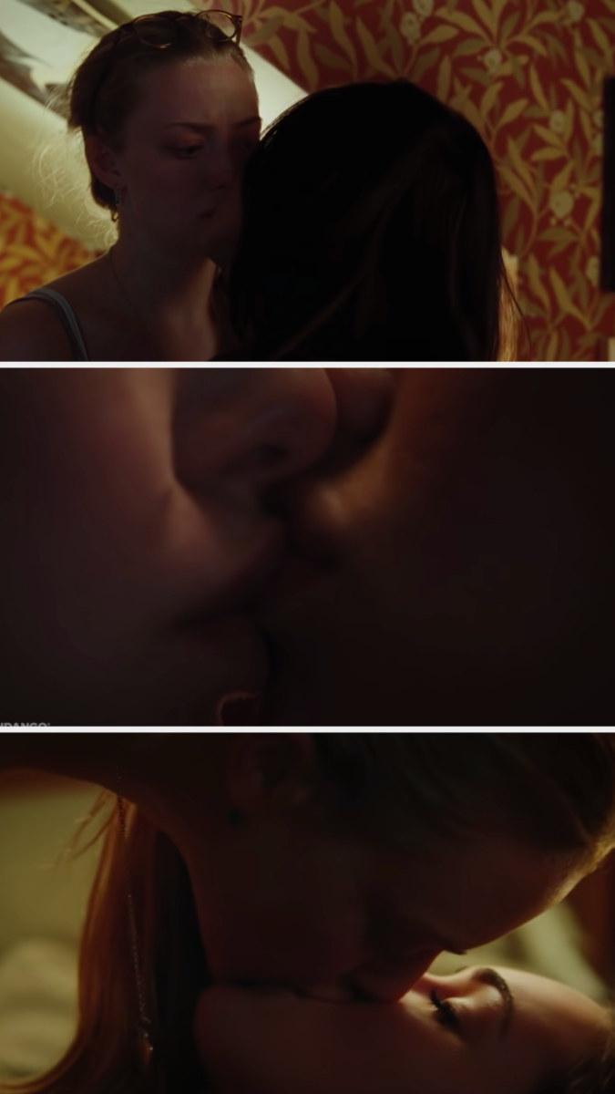 Jennifer kissing Needy, and Needy pushing Jennifer onto the bed and getting on top of her