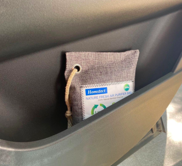a charcoal bag filter in a car