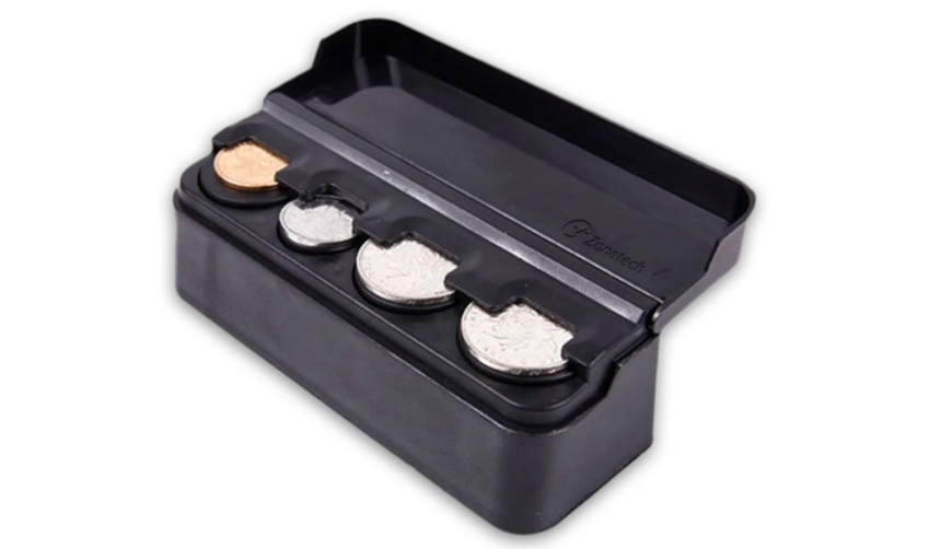 the coin holder with four slots for coins