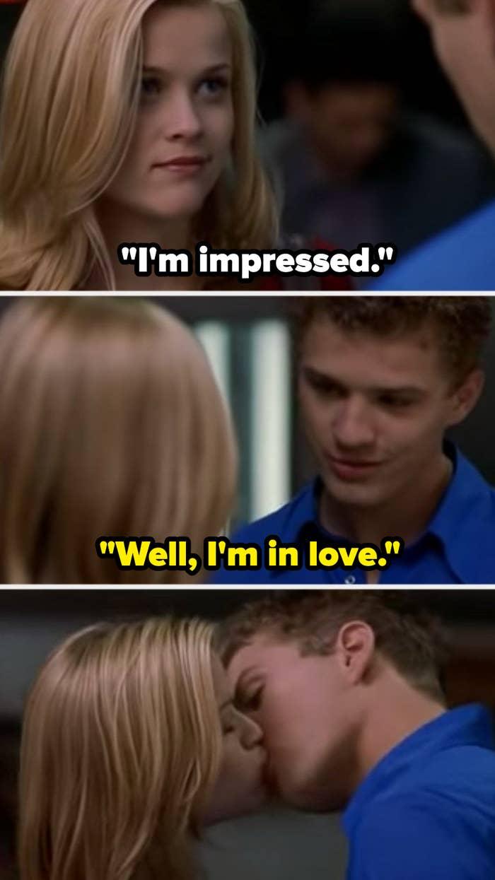 """Annette telling Sebastian, """"I'm impressed"""" and Sebastian responding, """"Well,' I'm in love"""" before kissing her"""