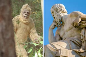 Side-by-side images of a picture of Bigfoot and a sculpture of Socrates