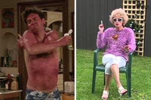 Side by side image showing a man extremely sunburnt and a woman sitting on a lawn chair with a cigarette