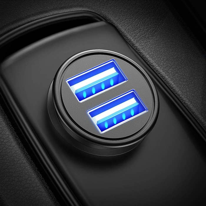 the charger port in-use and glowing blue
