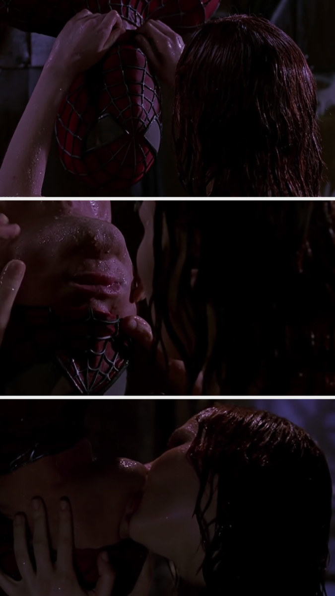 Mary Jane taking off Spiderman's mask just so that his mouth is uncovered so she can kiss him as he hangs upside down in the rain