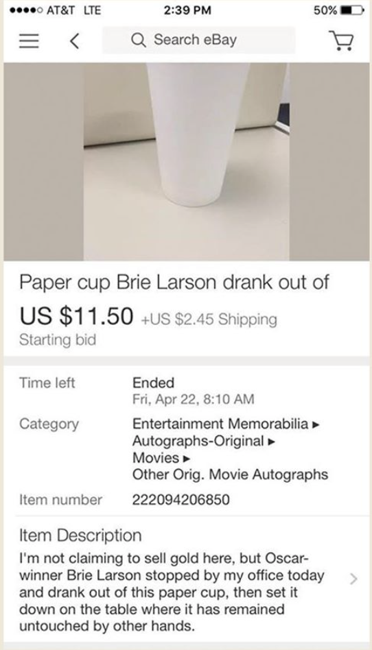 An eBay listing for the cup asking for a a starting bid of $11.50