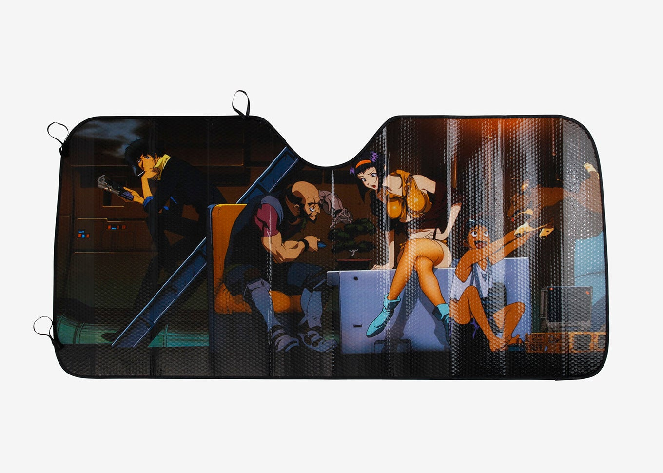 """a sun shade with """"Cowboy Bebop"""" characters on it"""