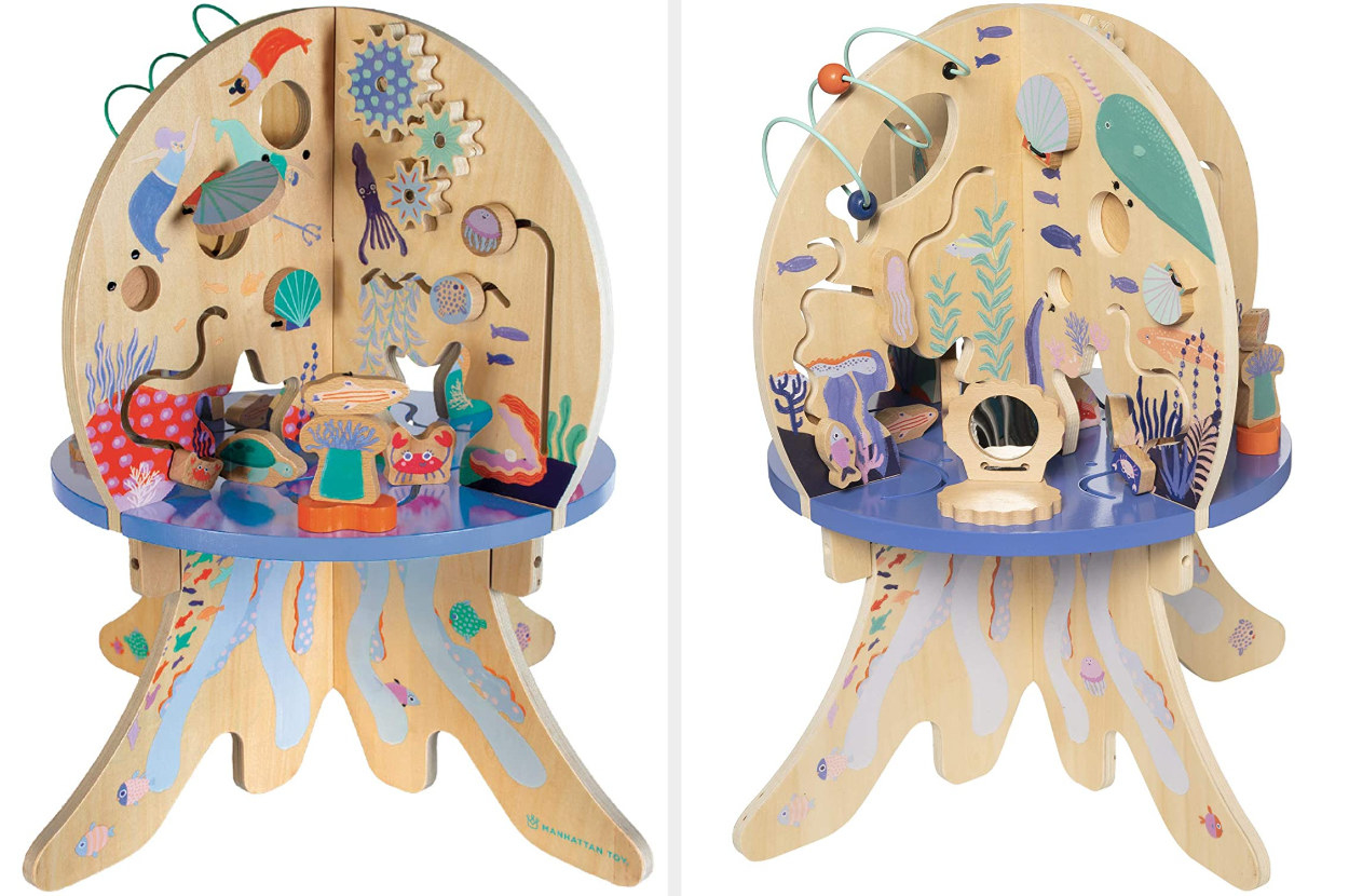 Split image of front and back of wooden activity center with underwater imagery