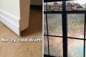 split thumbnail of draft stopper on the bottom of a door, iridescent window film on window