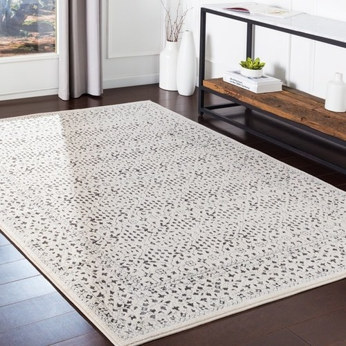 area rug in neutral pattern