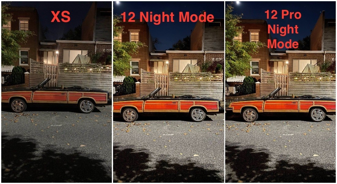 Comparison of photos from iPhone XS, 12, and 12 Pro in Night Mode