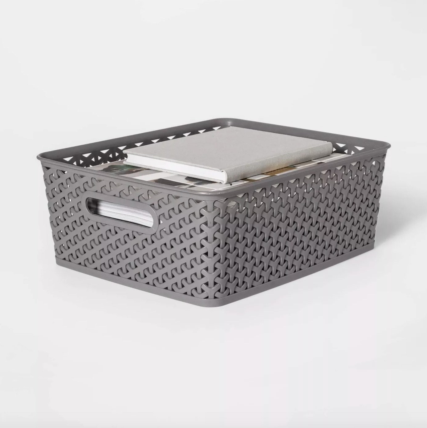 The medium rectangular storage bin in wicker gray