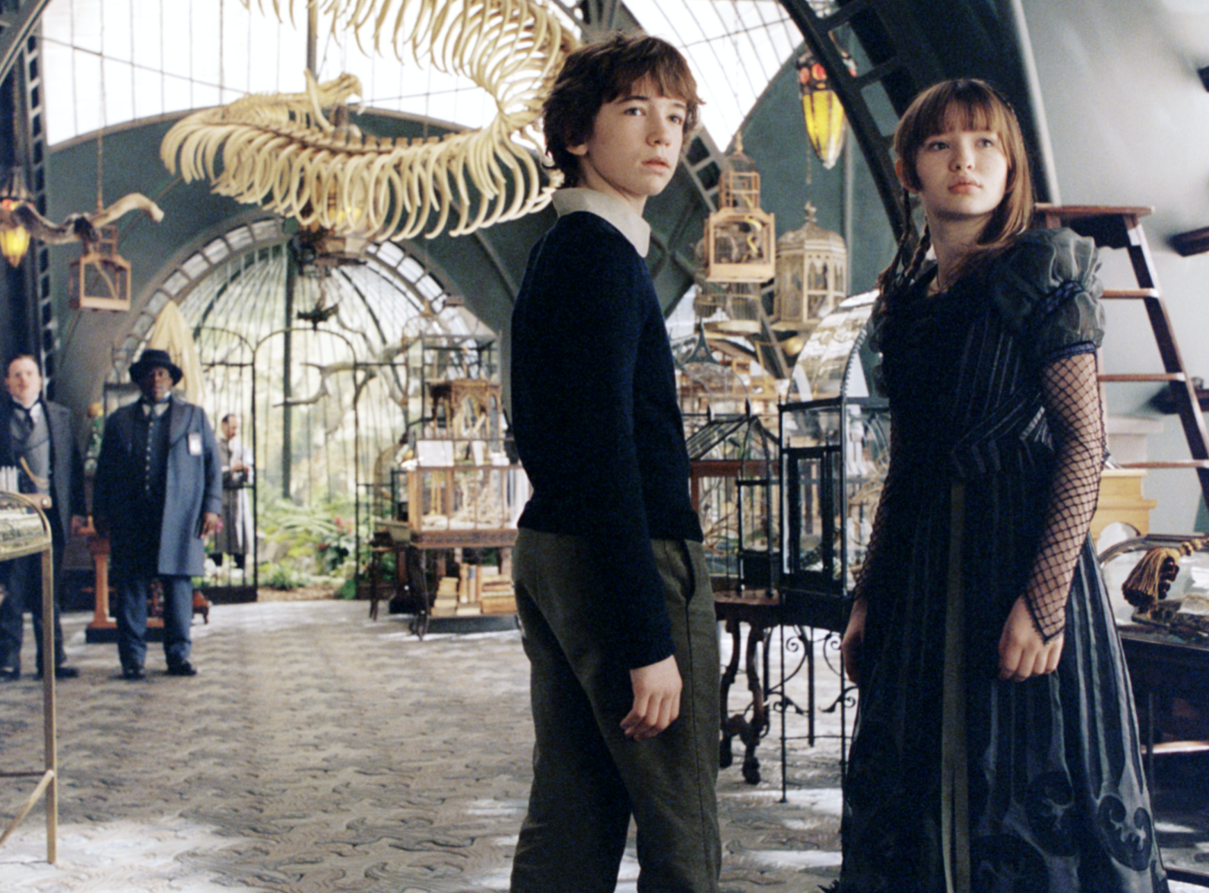 "Liam Aiken as Klaus Baudelaire and Emily Browning as Violet Baudelaire in the movie ""Lemony Snicket A: Series of Unfortunate Events."""