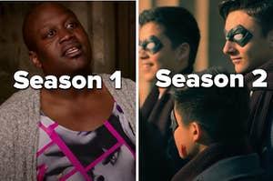 """泰特斯是与来自""""伞科学院""""标记的字符的左侧标有""""季节1"""",""""季节2"""""""