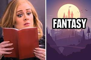 Adele reading a fantasy book