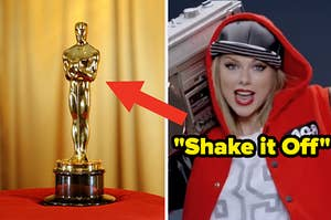 An oscar statue on the left and taylor swift in the shake it off music video on the right