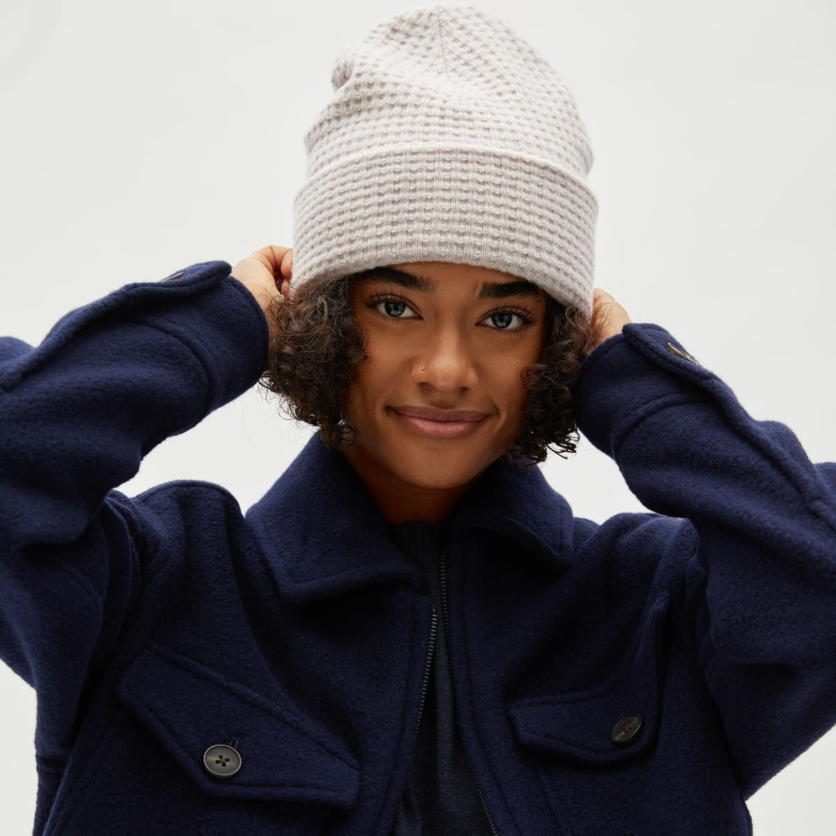 Classic brimmed beanie with waffle texture