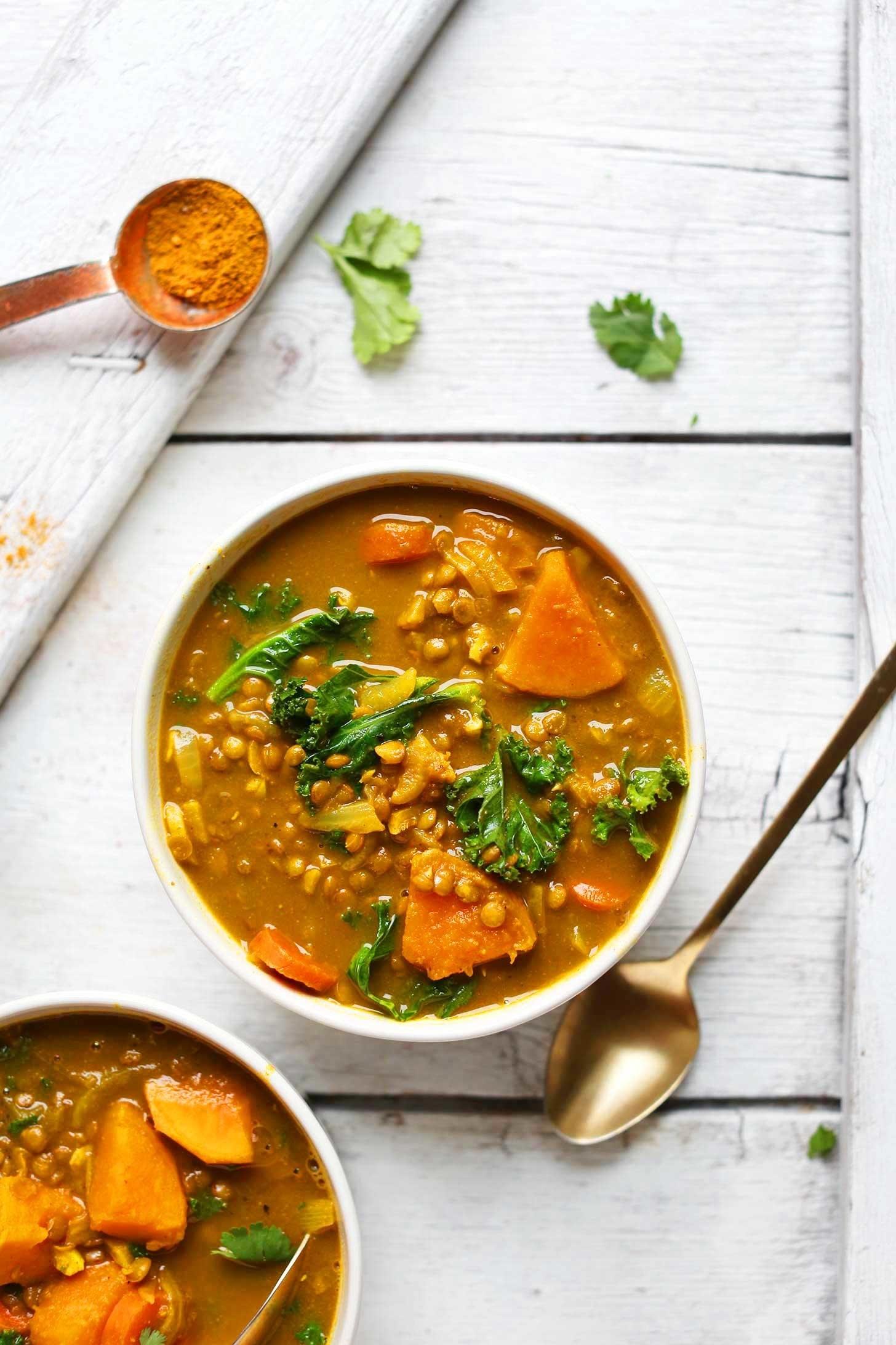 Curried potato lentil soup