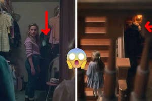 Side by side photos of The Haunting of Bly Manor with red arrows pointing to hidden ghosts in the background