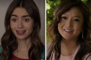 Emily looks surprised on the left with Mindy smiling on the right