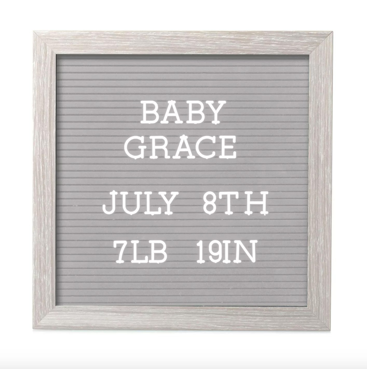 The letterboard in gray with a faux wood frame