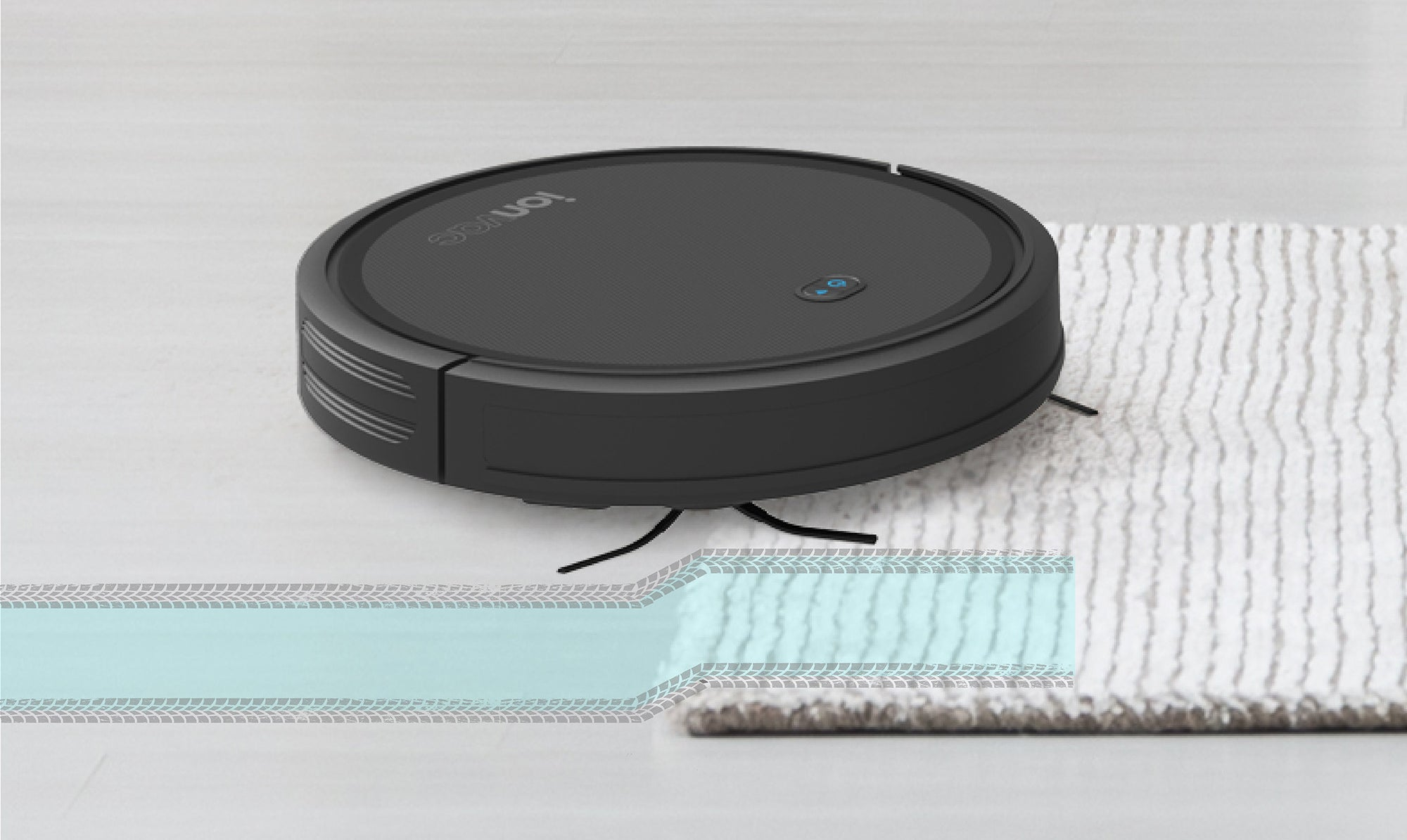 ionvac robot vacuum going up on a rug