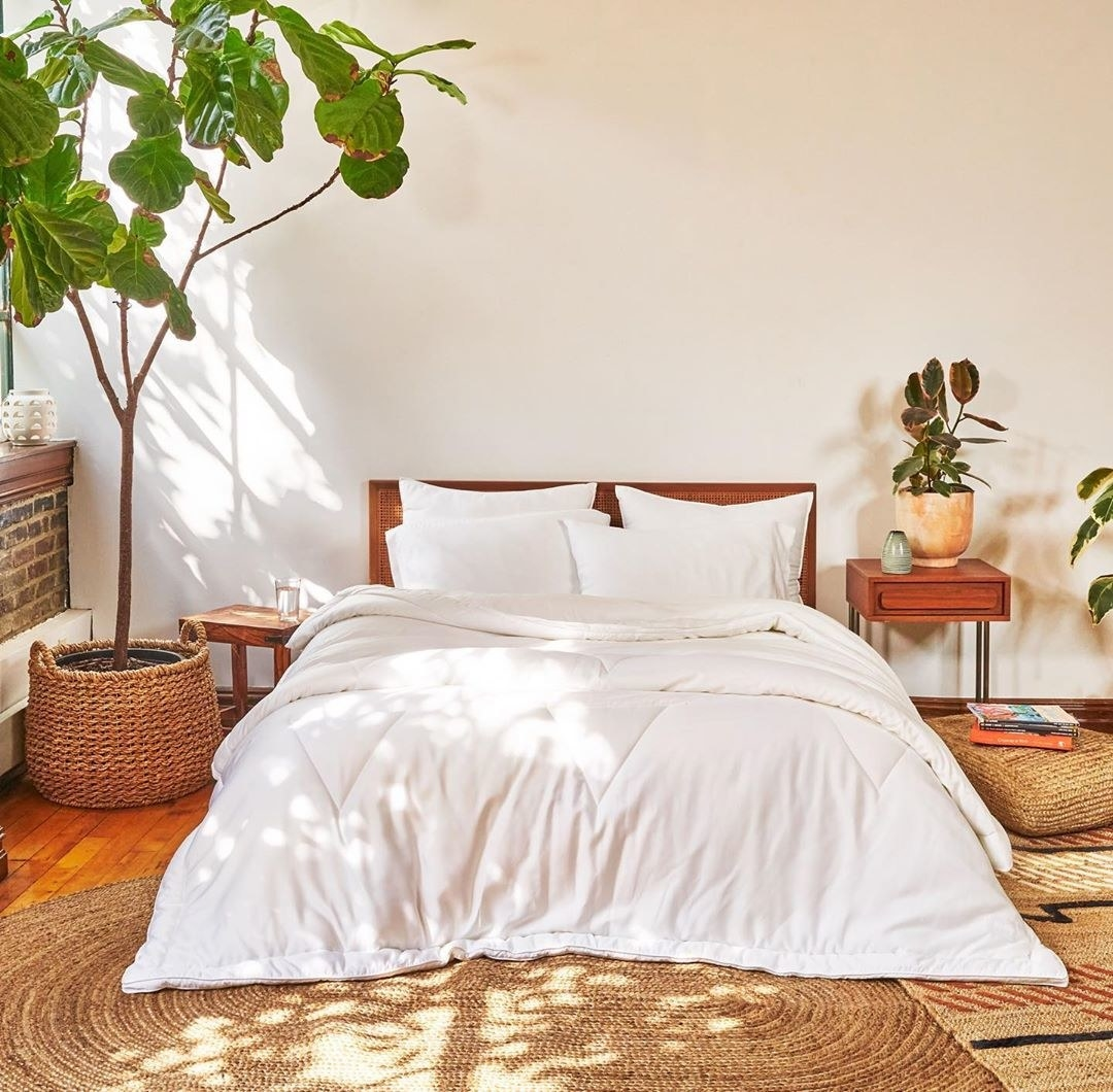 A plush white comforter in a sunny bedroom