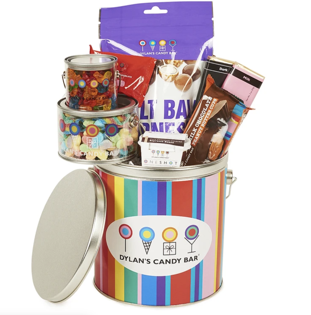 A rainbow bucket with the Dylan's Candy Bar logo full of candy and chocolate