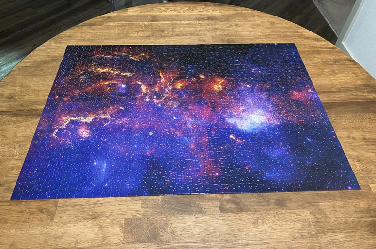 Reviewer photo of the completed Milky Way Galaxy puzzle