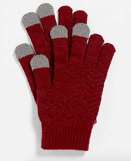 Burgundy gloves with tech knit tops on thumb, index, and middle fingers
