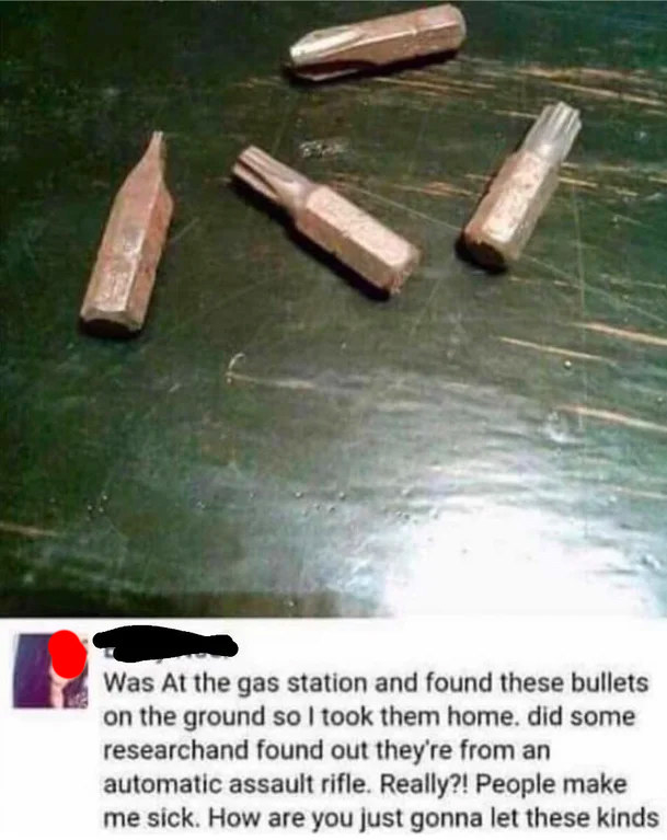 person saying they found bullets on the ground but they're just drill bits