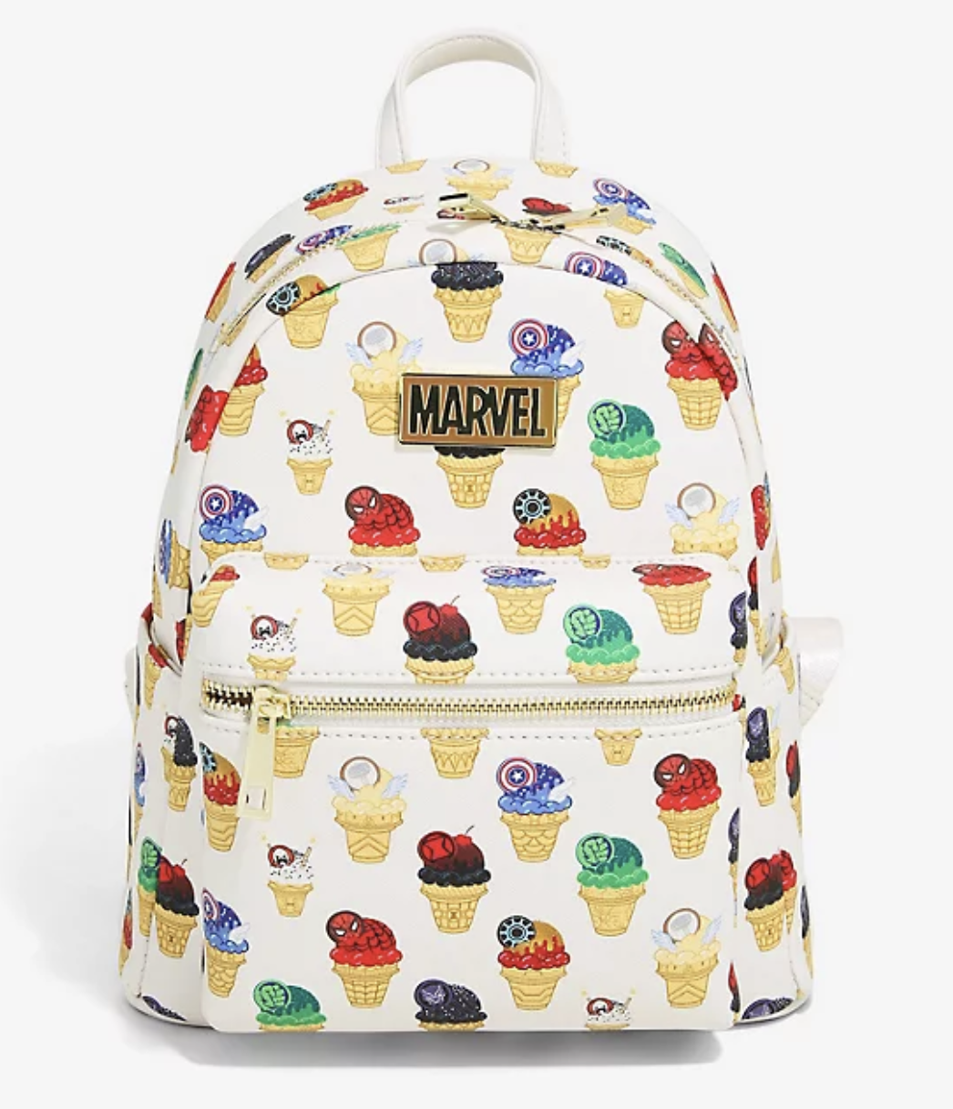 White backpack decorated with cartoon ice cream cones that look like each Avenger
