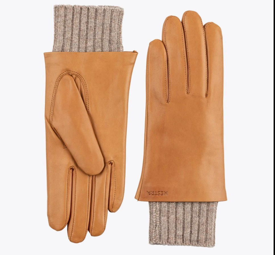 the gloves in light brown