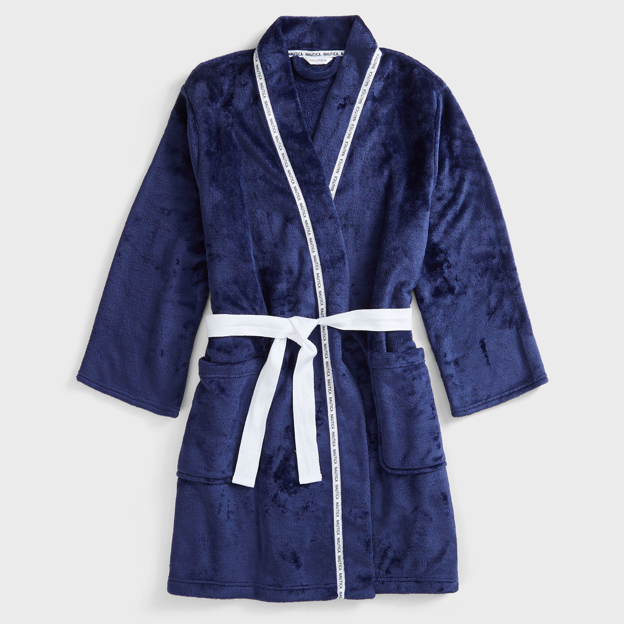 Blue robe with white details and big front pockets