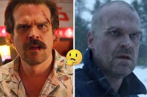 Hopper in Stranger Things Season 3 and Hopper with his head shaved in Russia