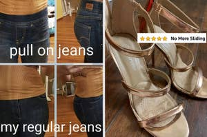 on the left reviewer wearing pull on jeans on top and regular jeans on bottom and on right reviewer photo of heels with added cushion