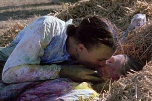 Kat and Patrick kissing in the hay during their paintball game in 10 Thing I Hate About You