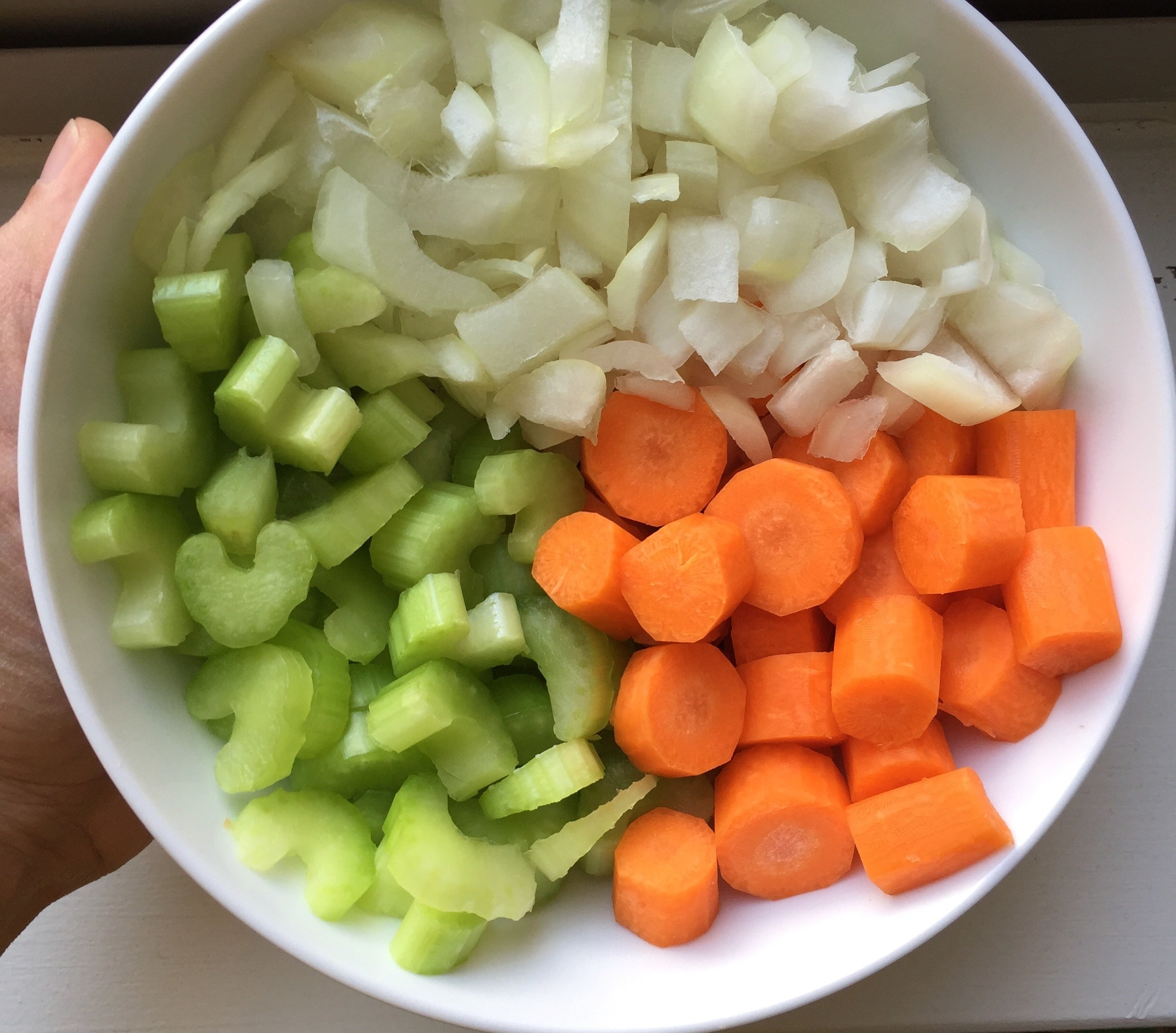 A prepped bowl of onions, carrots, and celery
