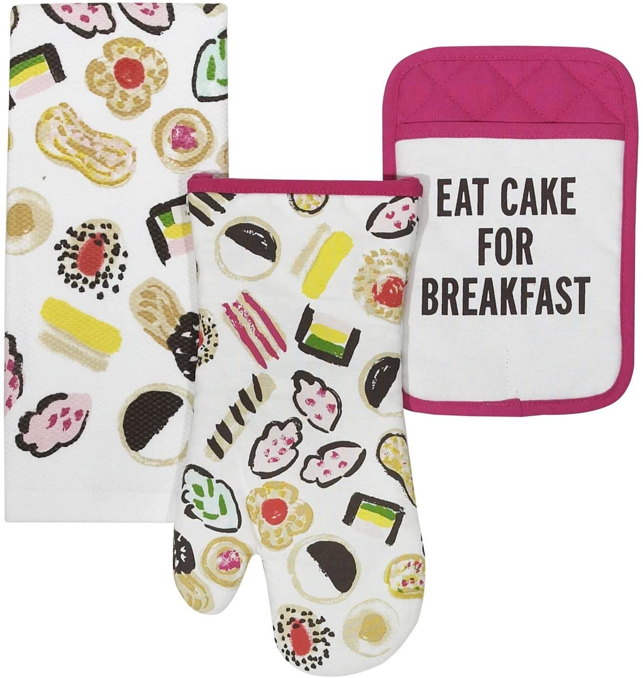 "A white towel and mitt with watercolor desserts on them and a pink and white pot holder that says ""eat cake for breakfast"""
