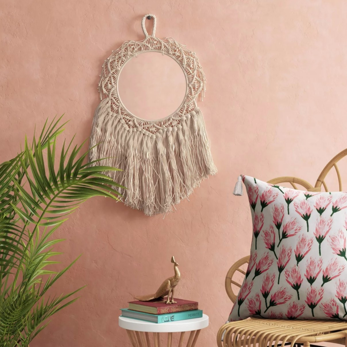 The round macrame woven wall art