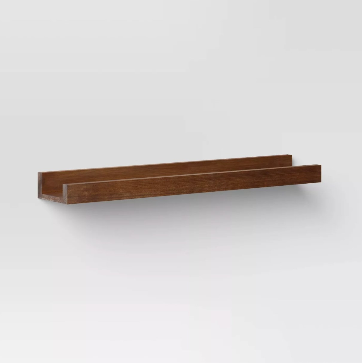 The ledge wall shelf in brown wood