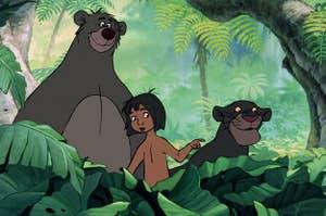 Baloo, Mowgli, and Bagheera from the Jungle Book
