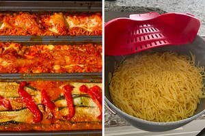 On the left, a lasagna trio pan, and on the right, a clip-on colander