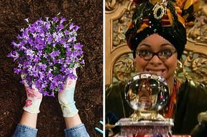 Someone planting some beautiful purple flowers on the left and raven from that's so raven looking into a crystal ball on the right